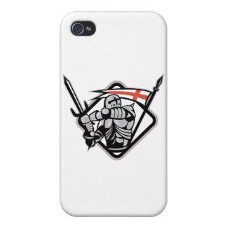 Bandera de Inglaterra de la espada del caballero q iPhone 4 Carcasa