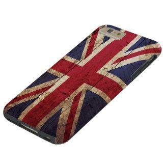 Bandera de Inglaterra en grano de madera viejo Funda De iPhone 6 Plus Tough