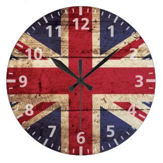 Bandera de Inglaterra en grano de madera viejo Reloj Redondo Grande