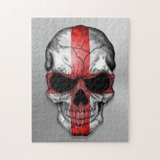 Bandera de Inglaterra en un gráfico de acero del c Puzzle Con Fotos