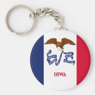 Bandera de Iowa Llavero Redondo Tipo Pin