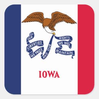 Bandera de Iowa Pegatina Cuadrada