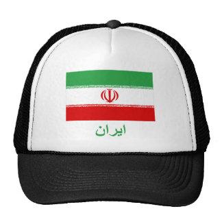 Bandera de Irán con nombre en persa Gorros