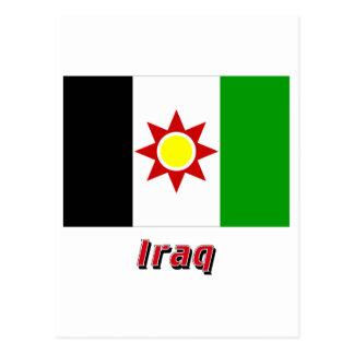 Bandera de Iraq con el nombre (1959-1963) Postal