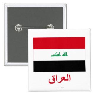 Bandera de Iraq con nombre en árabe Pin