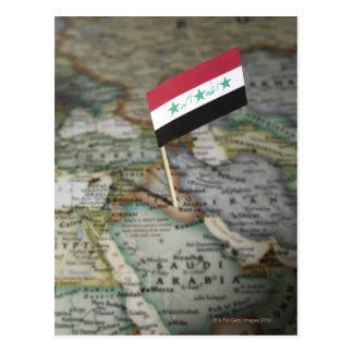 Bandera de Iraq en mapa Postal