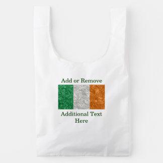 Bandera de Irlanda - arrugada Bolsa Reutilizable