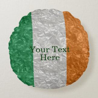 Bandera de Irlanda - arrugada Cojín Redondo