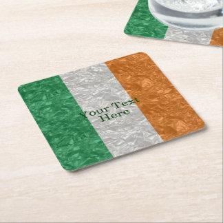 Bandera de Irlanda - arrugada Posavasos Desechable Cuadrado