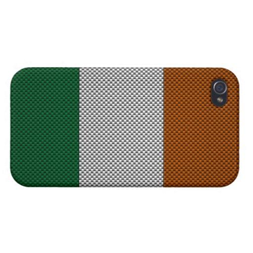 Bandera de Irlanda con efecto de la fibra de carbo iPhone 4/4S Funda