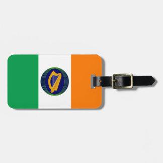 Bandera de Irlanda con el escudo de armas Etiquetas Para Maletas