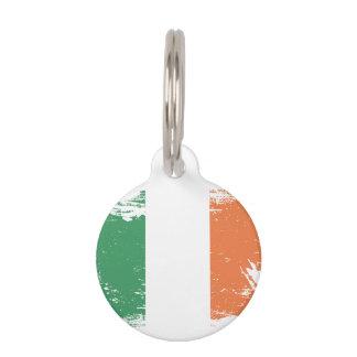 Bandera de Irlanda del Grunge Placa Para Mascotas