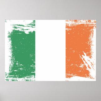 Bandera de Irlanda del Grunge Póster