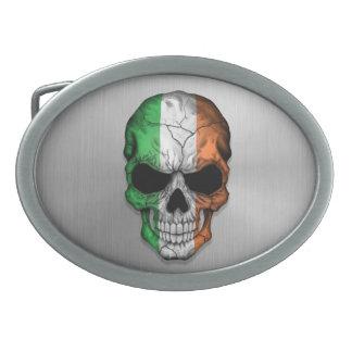 Bandera de Irlanda en un gráfico de acero del crán Hebilla De Cinturón Oval