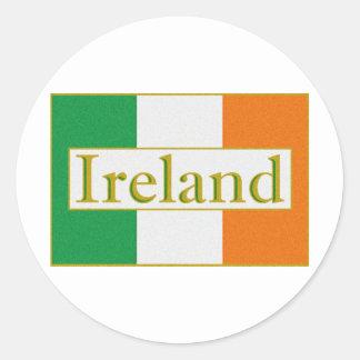 Bandera de Irlanda Etiqueta Redonda