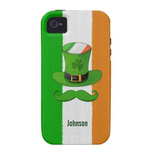 Bandera de Irlanda y bigote del gorra del Leprecha Vibe iPhone 4 Fundas