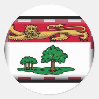 Bandera de Isla del Principe Eduardo Etiquetas Redondas