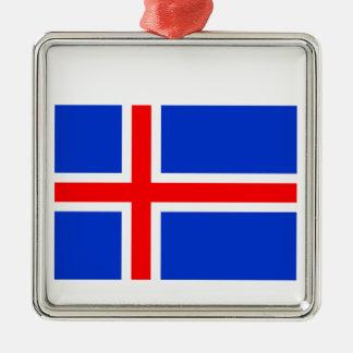 Bandera de Islandia Adorno Navideño Cuadrado De Metal
