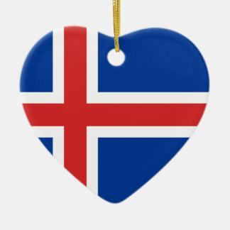 Bandera de Islandia Adorno Navideño De Cerámica En Forma De Corazón