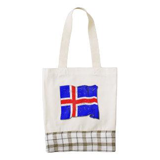 Bandera de Islandia (apenada) Bolsa Tote Zazzle HEART