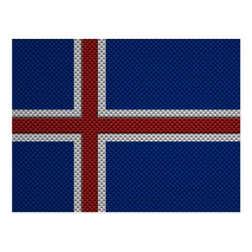 Bandera de Islandia con efecto de la fibra de carb Tarjetas Postales