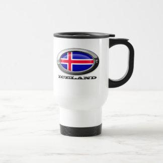 Bandera de Islandia en el marco de acero Taza De Café