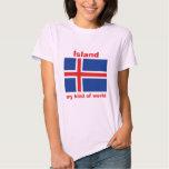 Bandera de Islandia + Mapa + Camiseta del texto Playeras