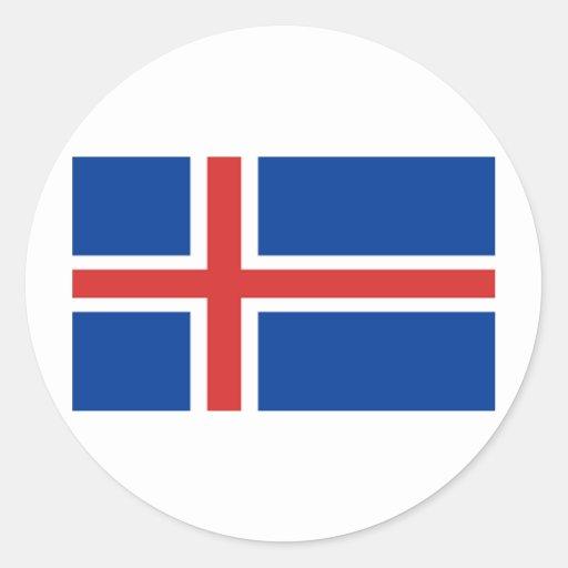 Bandera de Islandia Etiqueta Redonda