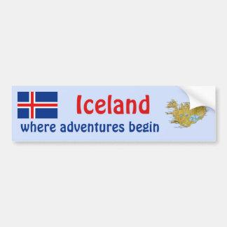 Bandera de Islandia + Pegatina para el parachoques Pegatina Para Auto