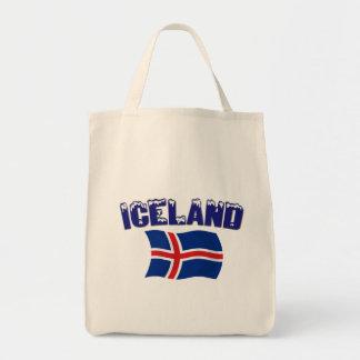 Bandera de Islandia (w/inscription) Bolsa Lienzo