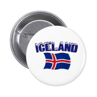 Bandera de Islandia (w/inscription) Pin Redondo De 2 Pulgadas