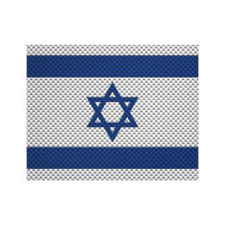 Bandera de Israel con efecto de la fibra de carbon Impresión De Lienzo