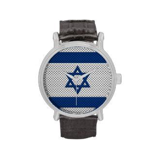 Bandera de Israel con efecto de la fibra de Relojes De Pulsera