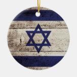Bandera de Israel en grano de madera viejo Ornato