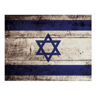 Bandera de Israel en grano de madera viejo Tarjetas Postales