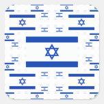 Bandera de Israel en las capas coloridas múltiples Calcomania Cuadradas