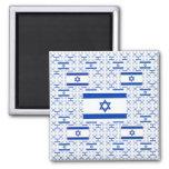 Bandera de Israel - estrella de David - en capas Imán Cuadrado
