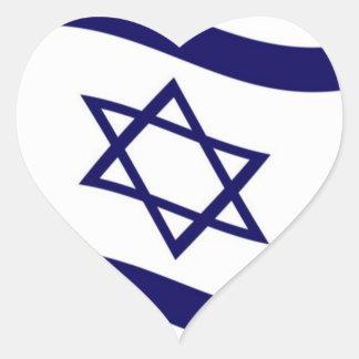 Bandera de Israel que agita Pegatina En Forma De Corazón