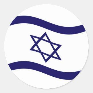 Bandera de Israel que agita Pegatina Redonda