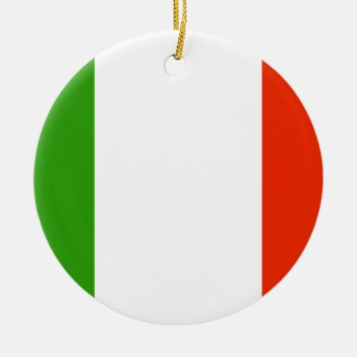 Bandera de Italia Adorno Navideño Redondo De Cerámica