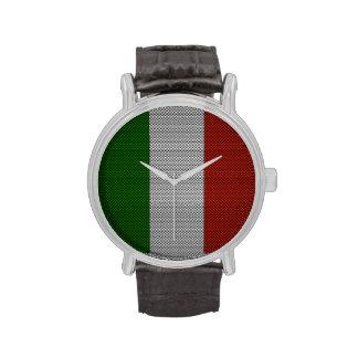 Bandera de Italia con efecto de la fibra de Relojes De Pulsera