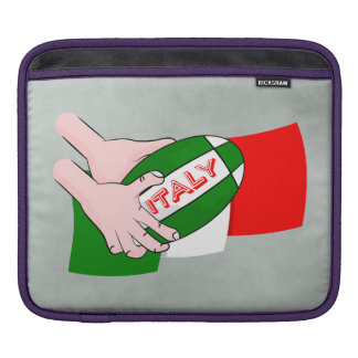 Bandera de Italia con la bola de rugbi del dibujo Fundas Para iPads