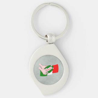 Bandera de Italia con la bola de rugbi del dibujo Llavero Plateado En Forma De Espiral