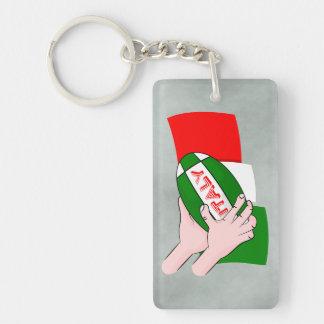 Bandera de Italia con la bola de rugbi del dibujo Llavero Rectangular Acrílico A Doble Cara