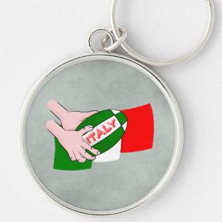 Bandera de Italia con la bola de rugbi del dibujo Llavero Redondo Plateado