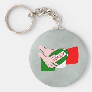 Bandera de Italia con la bola de rugbi del dibujo Llavero Redondo Tipo Pin