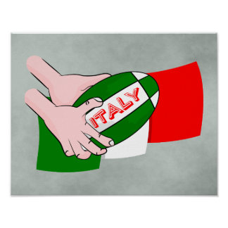 Bandera de Italia con la bola de rugbi del dibujo Póster