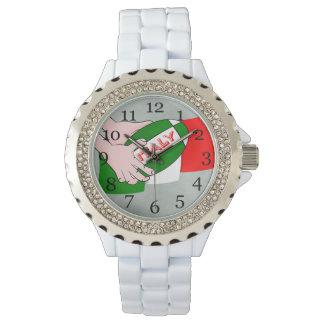 Bandera de Italia con la bola de rugbi del dibujo Relojes