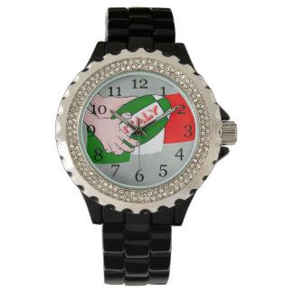 Bandera de Italia con la bola de rugbi del dibujo Relojes De Mano