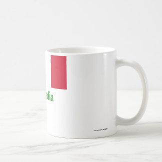 Bandera de Italia con nombre en italiano Taza Clásica
